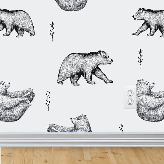 Bear Removable Wallpaper Woodland Nursery Nursery Wall Etsy