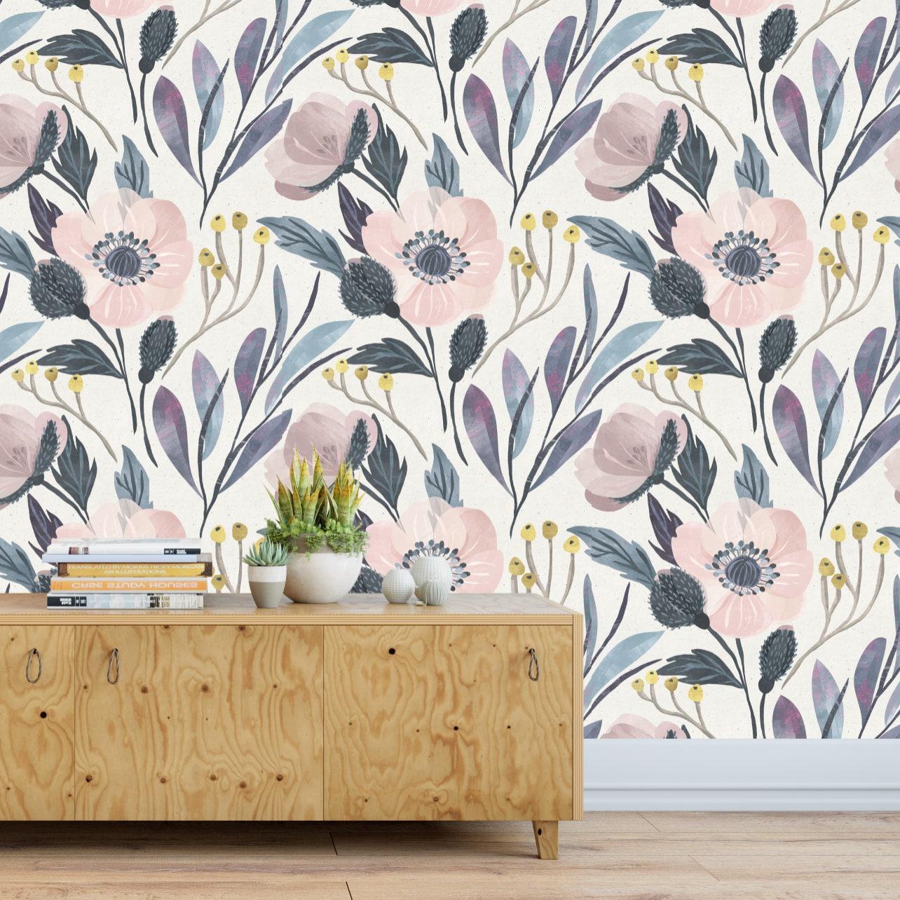 Moody Flower Wallpaper Temporary Wallpaper Removable Etsy