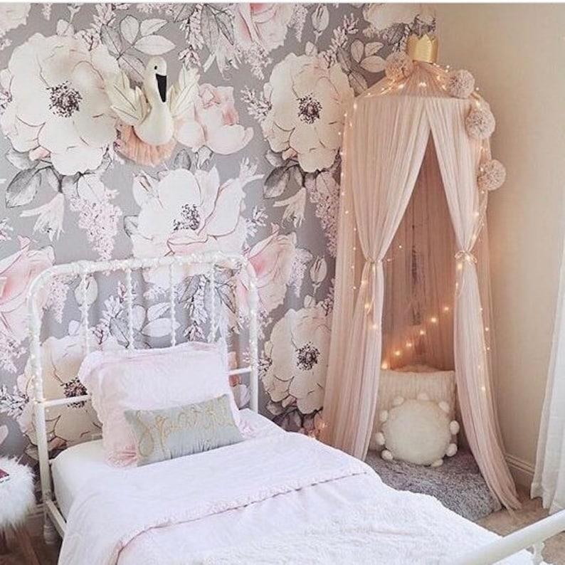 Baby Girl Wallpaper, Nursery wallpaper, Nursery Decor, Nursery Wall art,  Nursery decor girl, removable wallpaper, baby girl, kids room decor
