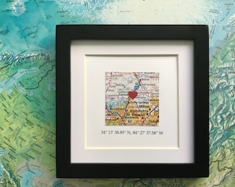 Framed Map & GPS Coordinates - Custom Map Gift - Latitude Longitude - Engagement Gift - Gallery Wall Art - 5x5 Frame - Graduation Gift