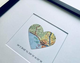 Custom heart map | Etsy