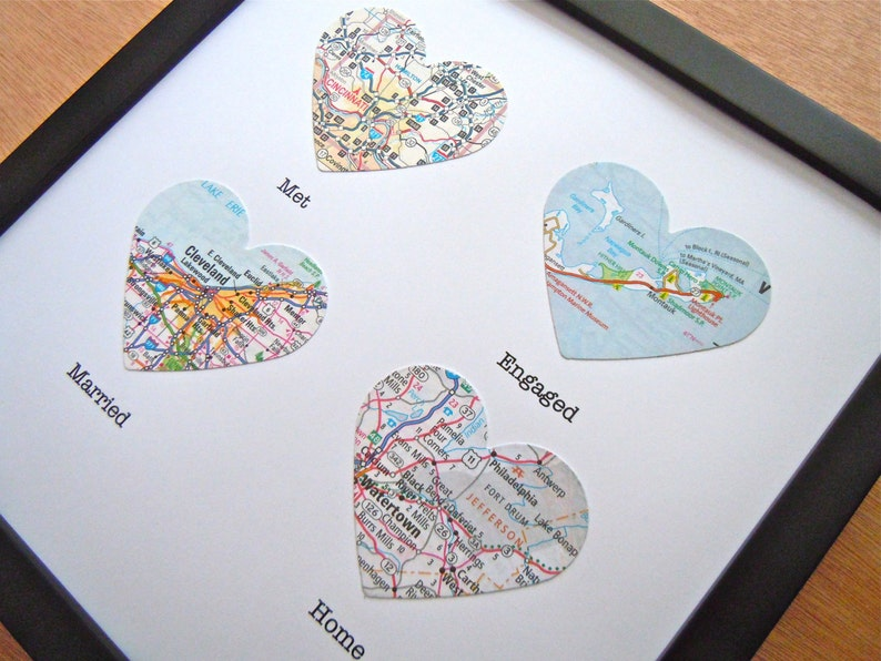 4 Framed Heart Maps With Text  Choose Your Maps  Map Art  image 0