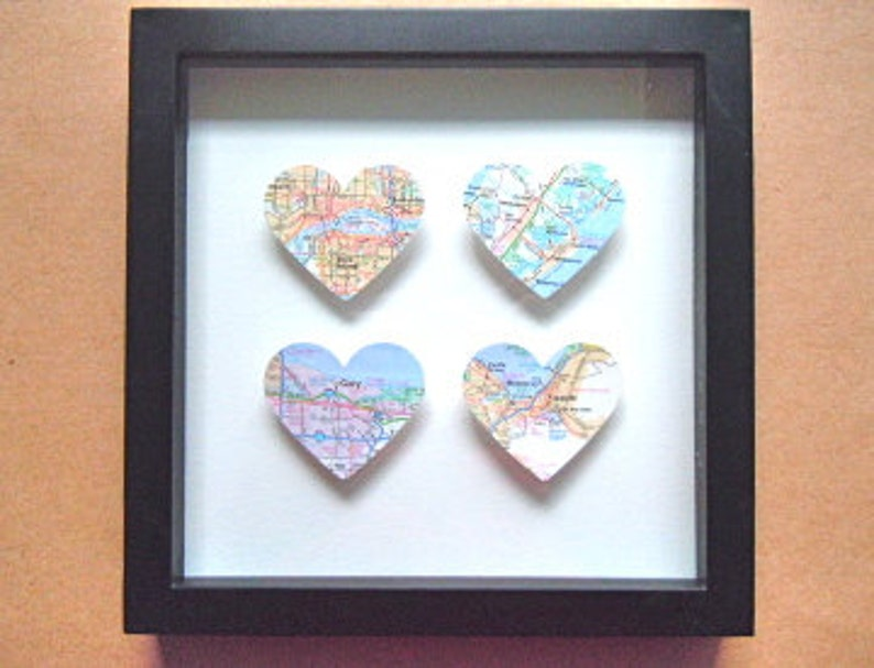 Map Heart Shadow Box  Four 3D Maps  Travel Wedding or image 0