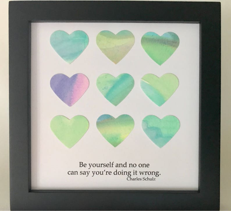 Motivational Art  Watercolor Hearts  Framed Square Art  image 0