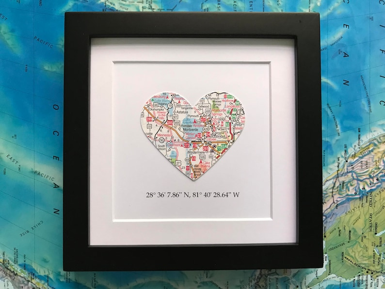 Framed Map with Map Coordinates  Customized  5x5 Inch Frame image 0