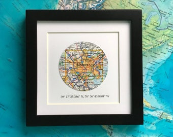 Framed Map with GPS Coordinates - Customized Map Gift - 5x5 Frame - Engagement Gift - Latitude Longitude - Father's Day Gift - Gallery Wall