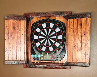 Dartboard Cabinet - for small electronic dartboard - MADE TO ORDER & Large Electronic Dartboard Cabinet Reclaimed Barn Wood | Etsy