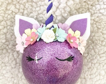 Unicorn Inspired Ornament (Purple)