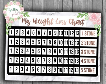 Weight Loss Chart - Marble & Floral - Rose Gold - Healthy Living - Dieting - Weight Loss - 5 Stone