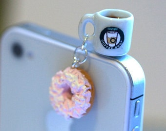 Kawaii Coffee and Donut Iphone Earphone Plug/Dust Plug - Cellphone Headphone Handmade Decorations