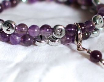 Nursing Bracelet / Breastfeeding Bracelet - Semi-Precious Amethyst - New Mom Gift / Baby Shower Gift - bracelet d'allaitement