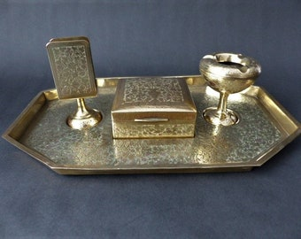Smoking Tobacco Pipe Gold-tone Cufflinks Money Clip Engraved Gift Set