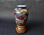 Late Meiji Period Japanese Arita Imari Cobalt Blue Vase With Dragon Cloud Moriage Ware