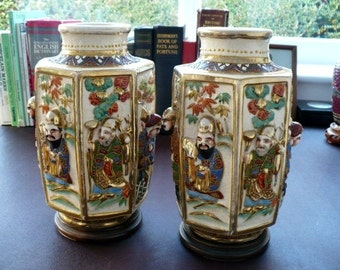 A Pair Of  Late Meiji Era Japanese Vases And Bases - Seven Lucky Gods