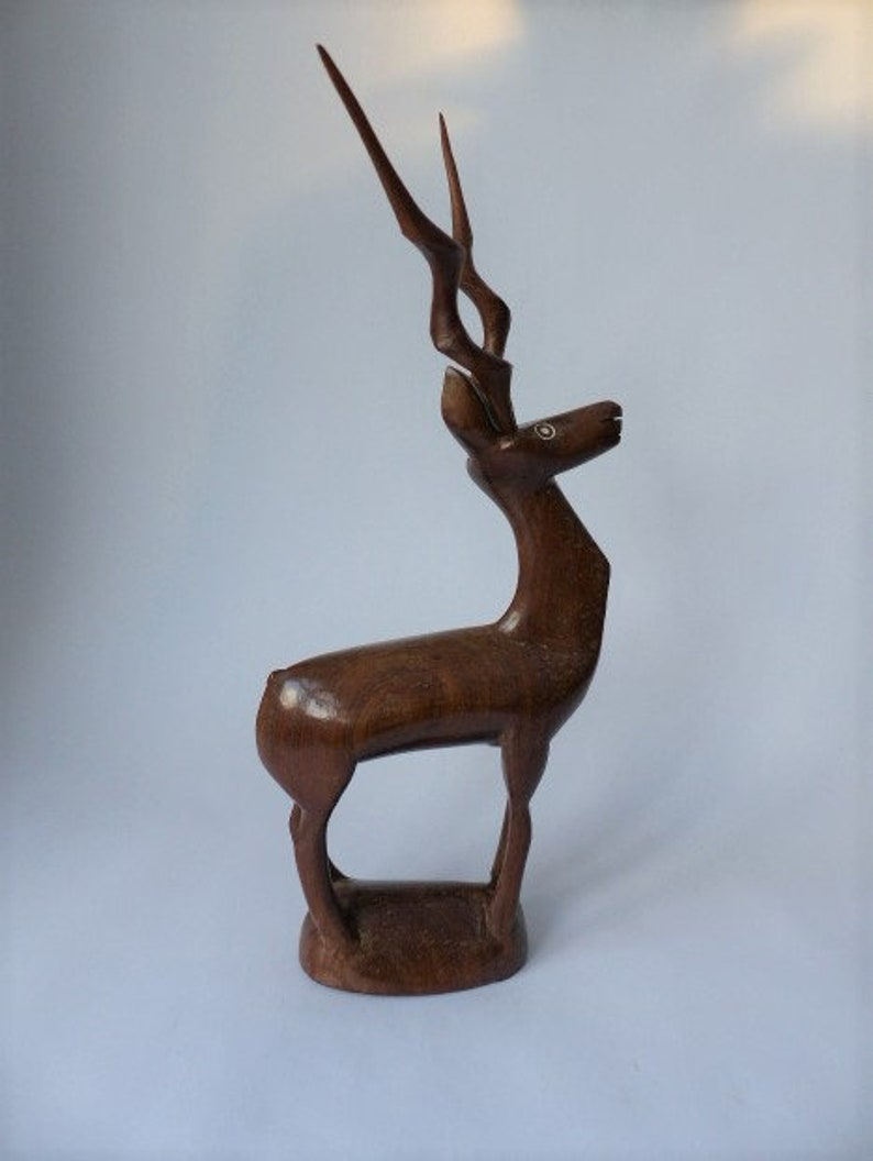 EarlyMid Century African Tribal Art Wood Carving East African Lesser Kudu