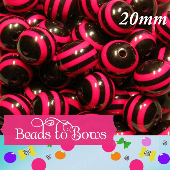 5 pieces 20mm hot pink /& black striped chunky bubblegum bead DIY baby necklaces