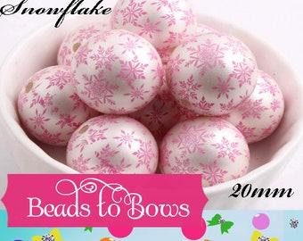 20mm Pink Snowflake on White Pearls Bubblegum Beads, Snowflake Print Beads, Chunky Necklace Supply Bead, Acrylic Bubblegum Bead,