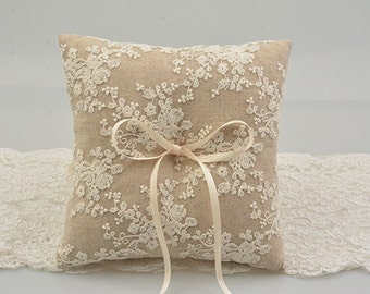 rustic ring bearer pillow, linen ring bearer pillow, lace ring bearer pillow, wedding ring pillow, lace ring pillow