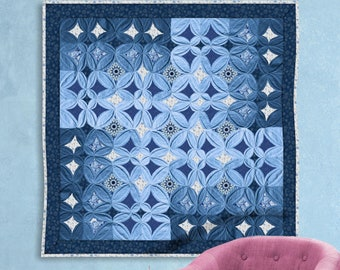 Cathedral Window wall hanging tutorial. PDF download + patterns + Video instructions.