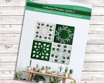 Cathedral window quilt 3. Book. PDF Download + Video tutorials and patterns. More than 10 projects.