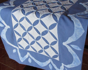 """Cathedral Window runner tutorial. PDF download + printable patterns + Video instructions. """"Blue waves"""""""