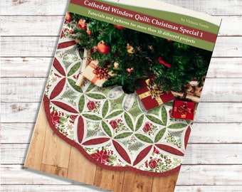 Cathedral window Christmas Book 1. PDF Download + Video tutorials and patterns. More than 10 projects.