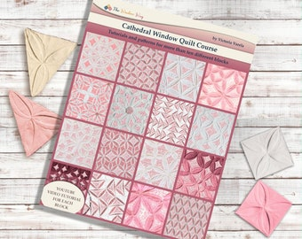 Cathedral Window Quilt Course Book. 12 different blocks. PDF download + printable patterns + Video instructions.