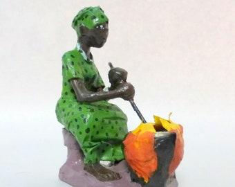 Africa Paper Mache Hand Sculpture Figurine Village Girl Kneeling Praying
