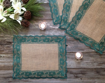 Burlap Placemats with DARK GREEN Lace - Country Wedding, Rustic Country Wedding, Farmhouse Decor, Rustic Country Home, French Country Decor