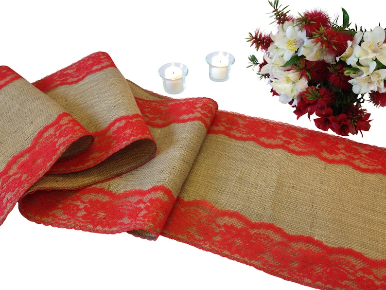 Burlap Table Runner Lace on Edges Shabby Chic Rustic Wedding Table Runner Country Farmhouse Home Decor 16-30 Ft 12 Width RED Lace