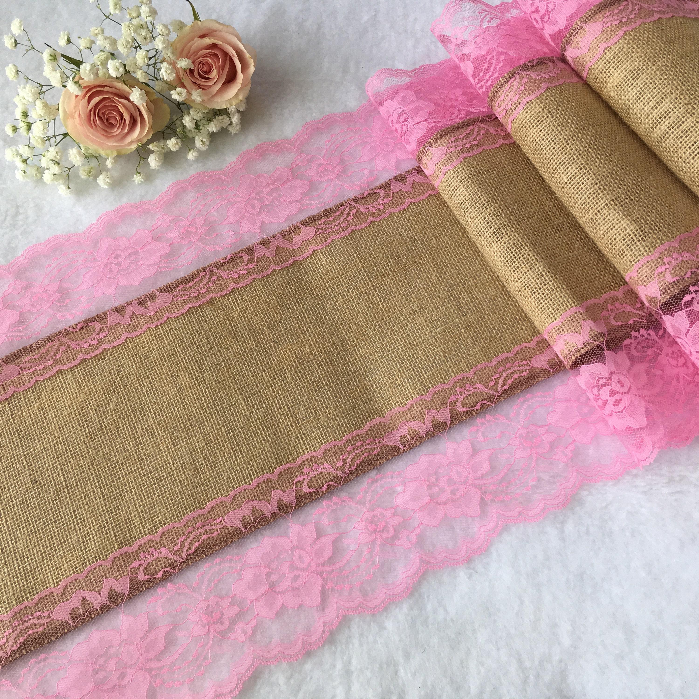 Burlap Table Runner SACHET PINK Lace Wedding Table Runner | Etsy