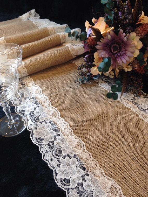 28ft Beautiful Hessian and Lace Table Runners