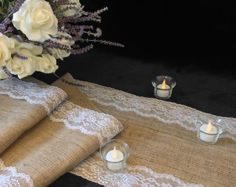 """Burlap Table Runner, WHITE Lace - Wedding Table Runner - 12"""" Width; Lace on Edges - Country Home Decor, Farmhouse Decor, Rustic Wedding"""