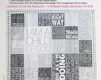 LDS Primary Song Sing • Along Quilt Panel Greys