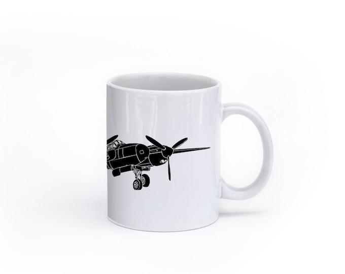 KillerBeeMoto:  P38 Lightning Fighter Plane Coffee Mug (White)