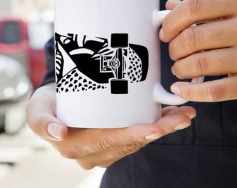 KillerBeeMoto:   Coffee Mug With Maori Design on Skateboard