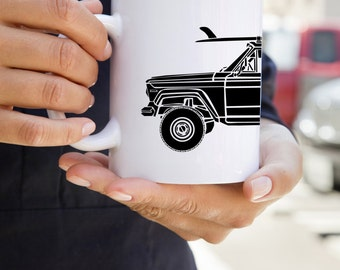 KIllerBeeMoto:    Limited Release American Vintage SUV Surfing Truck Coffee Mug (White)