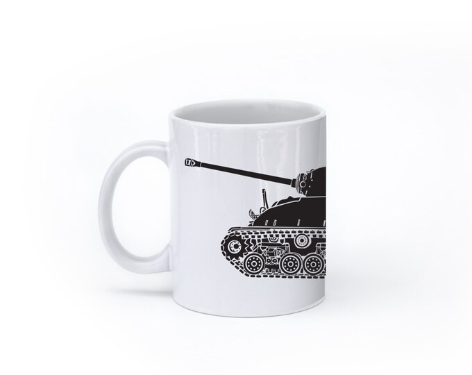 KillerBeeMoto:    World War 2 M4 Sherman Tank Mug (White)