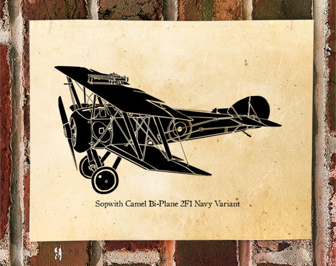 KillerBeeMoto: Limited Print Sopwith Camel Bi-Plane 2F1 Navy Variant Aircraft Print 1 of 50
