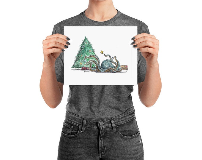 KillerBeeMoto: Limited Print Octopus Decorating A Christmas Tree
