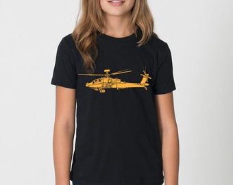 KillerBeeMoto: Boeing AH-64 Apache Attack Helicopter Short & Long Sleeve T-Shirt Cartoon Version