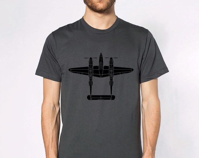 KillerBeeMoto: P-38 Lightning Fighter Plane Top View Short & Long Sleeve Shirt