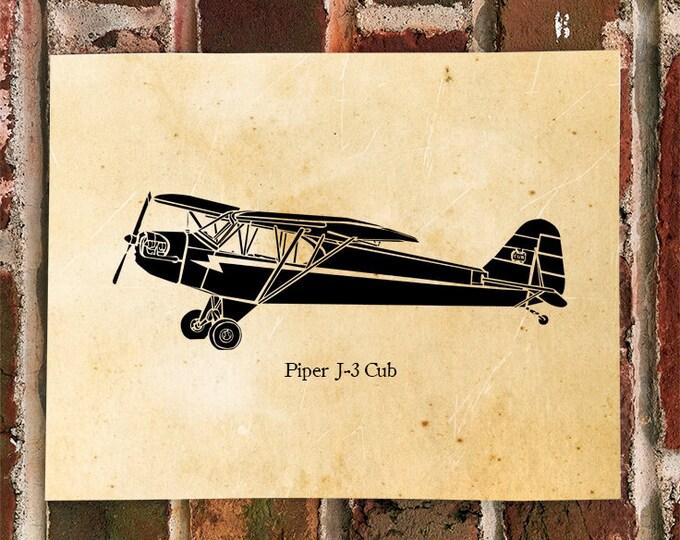 KillerBeeMoto: Limited Print J-3 Cub Airplane Print 1 of 100