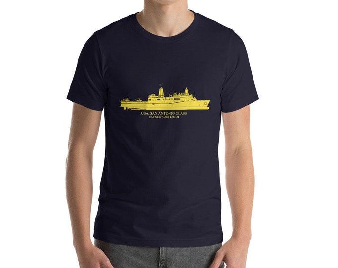 KillerBeeMoto: San Antonio-Class Amphibious Transport Dock US Navy Vessel T-Shirt With Custom Vessel Name Option