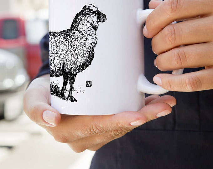 KillerBeeMoto:   Coffee Mug With Hand Drawn Sheep Sketch Design