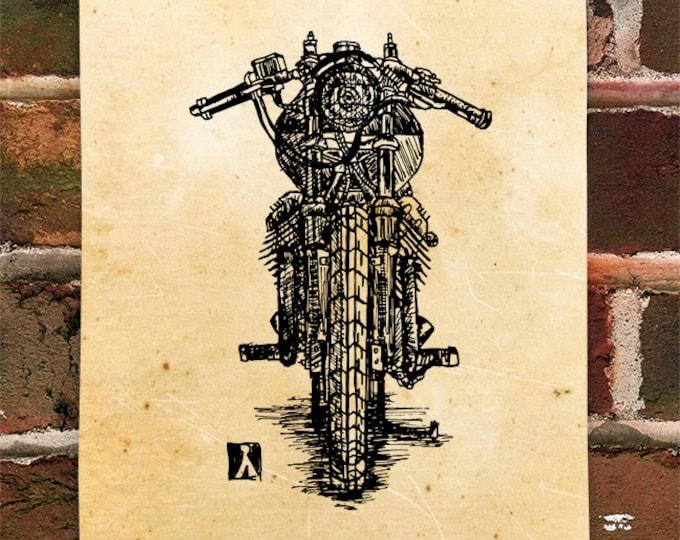 KillerBeeMoto: Limited Print Vintage Italian Custom Cafe Racer Motorcycle Print 1 of 50