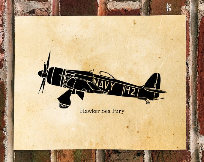 KillerBeeMoto: Limited Print RAF Hawker Sea Fury Fighter Airplane Print