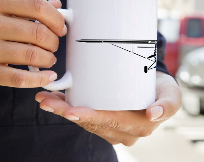 KillerBeeMoto: Coffee Mug Limited Release PA-18 Recreational Aircraft Drawing On Coffee Mug
