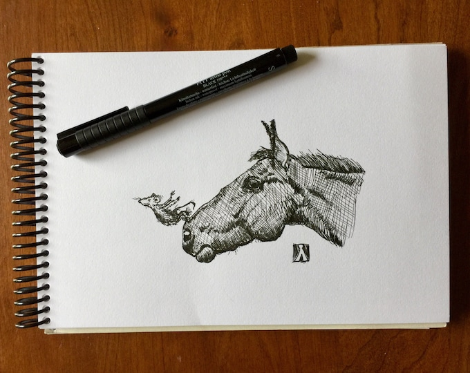 KillerBeeMoto: Pen Sketch Print of Mouse Swan Diving From Horse's Nose