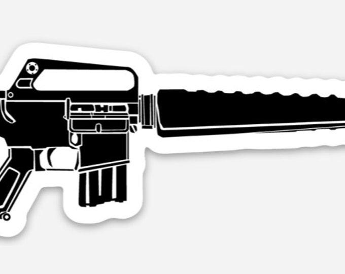 KillerBeeMoto: Vinyl Sticker of a Vietnam Era M16 Rifle Hand Drawn Illustration